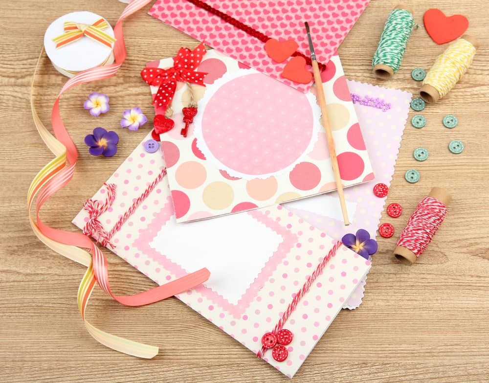 scrapbook with supplies